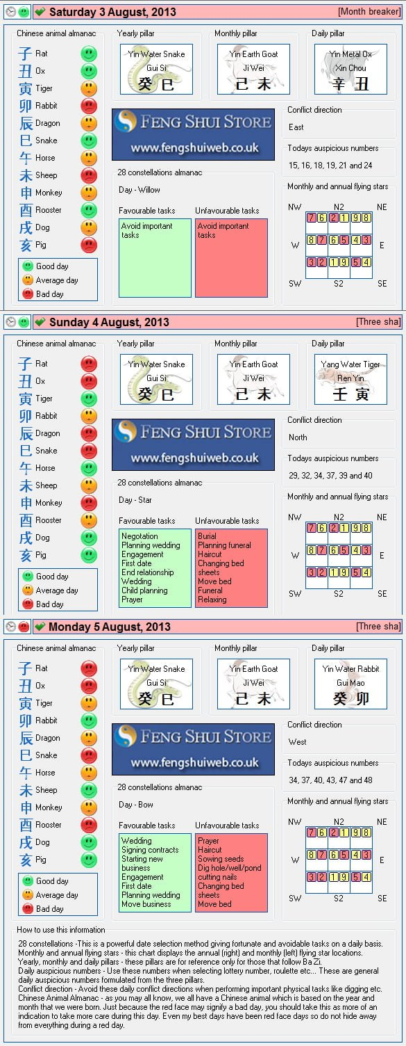 Tong Shu Almanac for Saturday 2rd - Monday 5th August 2013