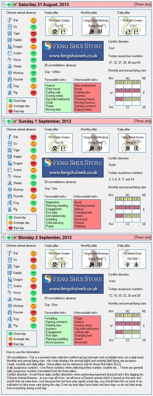 Tong Shu Almanac for Saturday 31st August - Tuesday 2nd September 2013