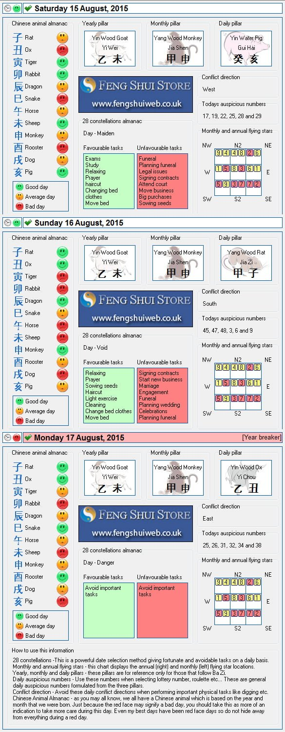 Tong Shu Almanac for Saturday 15th - Monday 17th August 2015