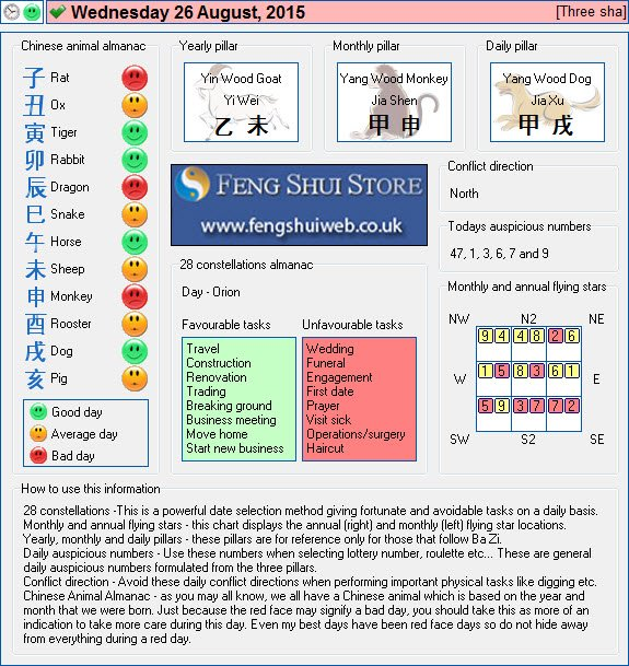 Tong Shu Almanac for Wednesday 26th August 2015